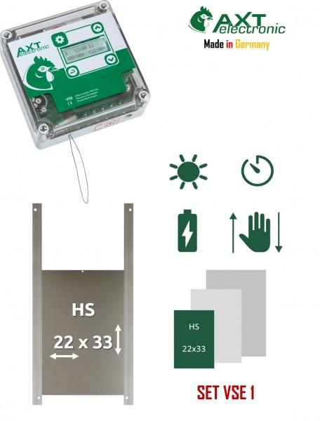 Elektronischer Pförtner VSE mit Batterien, integrierter Zeitschaltuhr und Hühnerklappe, automatische Hühnerklappep