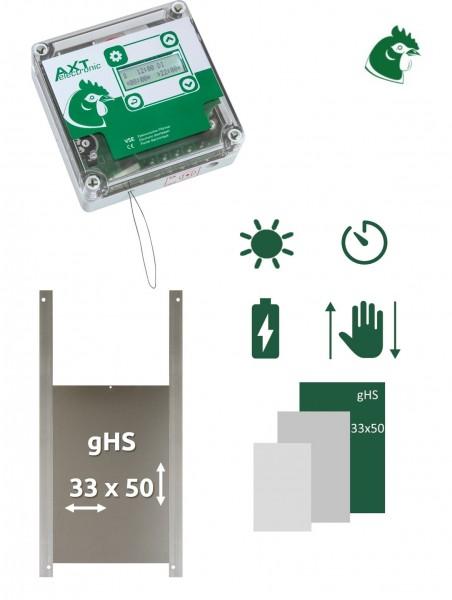 SET VSE 3 – Automatische Hühnerklappe VSE mit Batterien, integrierte Zeitschaltuhr, Gänsetür 33x50