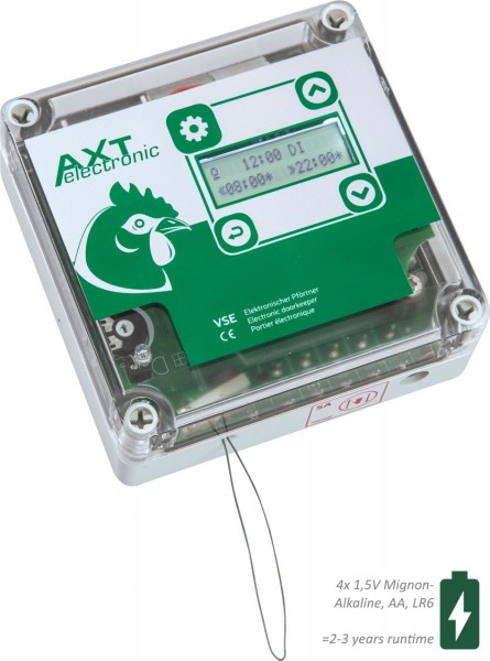 VSE - Automatische Hühnerklappe mit integrierter Zeitschaltuhr und 4xAA Batterien