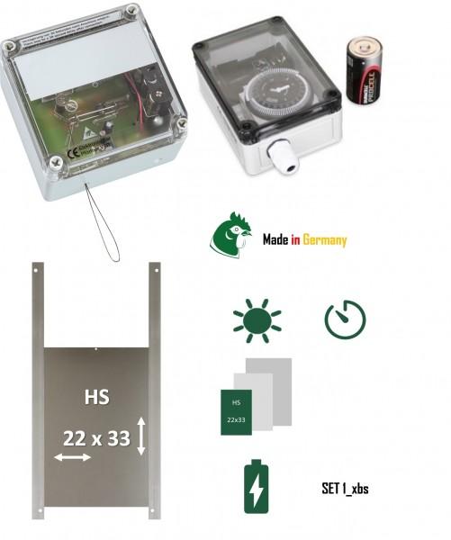 Sparset automatische Hühnerklappe Elektronischer Pförtner Hühnertür mit Zeitschaltuhr Hühnerhausschieber