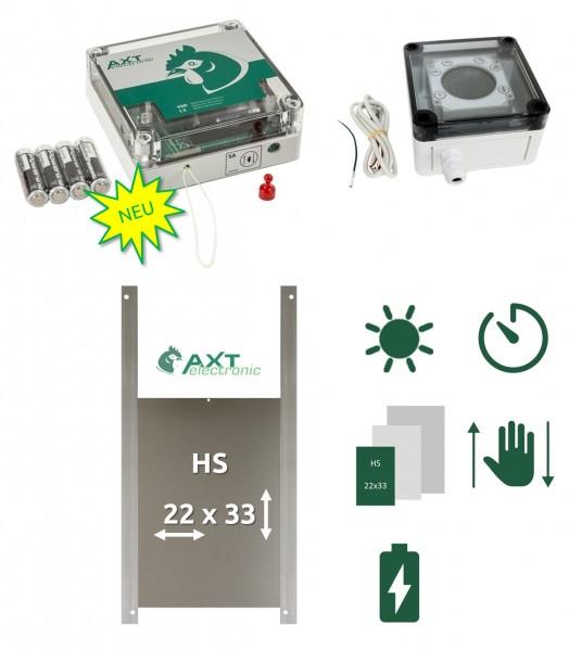 Neuer Elektronischer Pförtner VSD, automatische Hühnerklappe, hühnertür, manuell öffnen und schließen, SET mit Zeitschaltuhr Batteriebetrieb