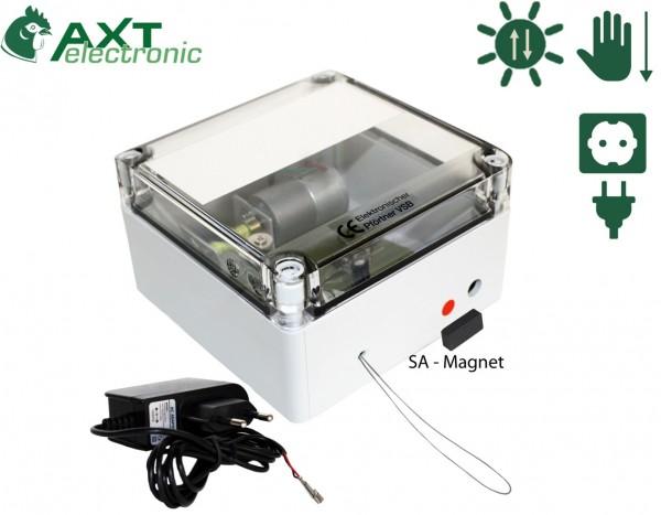 VSB+ST - Elektronischer Pförtner / Hühnerklappe mit 12V Netzteil, Klappensteller, automatische Hühnerklappe